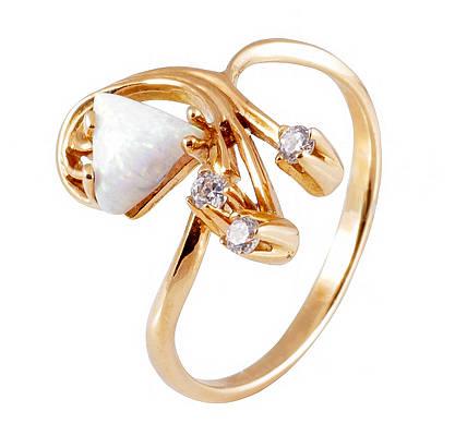 Золотое кольцо и серьги с опалом и фианитами