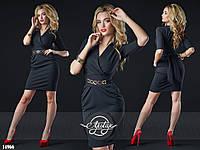 Стильное платье с вшитым поясом черное