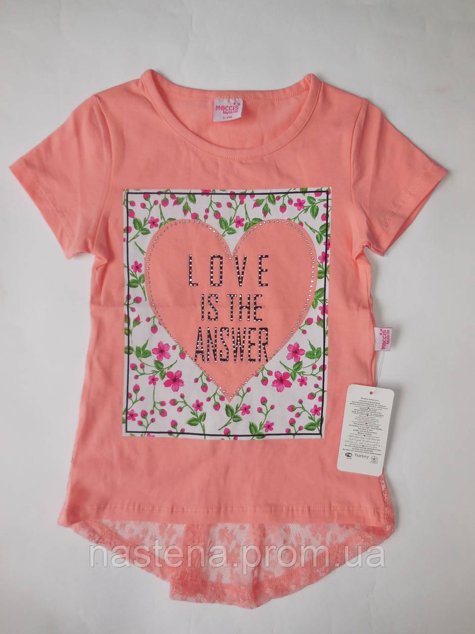 Детская красивая футболка для девочек MOCCIS от 5 до 8 лет.