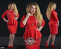 Стильное платье миди с баской красное