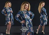 Ассиметричное платье в цветочный принт синее