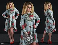 Ассиметричное платье в цветочный принт серое