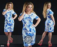 Платье с молнией по всей спинке синие цветы