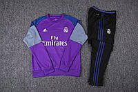 Костюм Реал Fly Emirates черные штаны (фиолетовый)