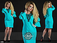 Платье-чехол с кружевом ментол