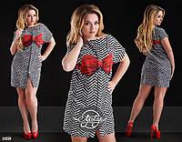 Платье мини с ярким бантом стрейч шелк
