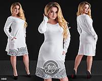 Платье с графическим рисунком белое