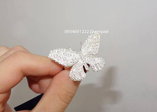 Шикарное серебряное кольцо Бабочка с россыпью камней