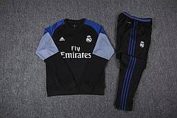 Костюм Реал Fly Emirates черные штаны (черный)