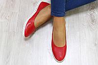 Балетки кожаные перфорация цвет : красный Материал: натуральная кожа с кожаной подкладкой