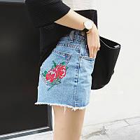 Модные голубые женские шорты с завышенной талией и вышивкой в виде цветка