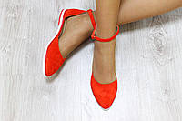 Балетки - лодочки замша цвет: красный  Материал: натуральная замша и кожаная подкладка