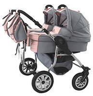 Коляска 2 в 1 для двойни Tako Jumper Duo we love kids 05 розовый-серый