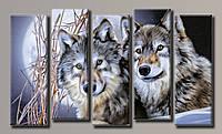 Картина модульная на холсте Волки 58*100,5(5) см.