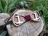 Деревянная бабочка галстук Ободок Якорь ручной работы, серия Fantasy