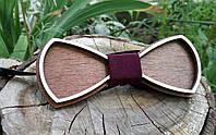 Деревянная бабочка галстук Ободок коричневый ручной работы, серия Fantasy