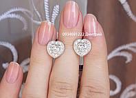 Серебряные серьги в виде сердца