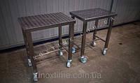Столы производственные из нержавеющей стали. Используются на предприятиях пищевой промышленности для разделки, вязки, упаковки продукта.