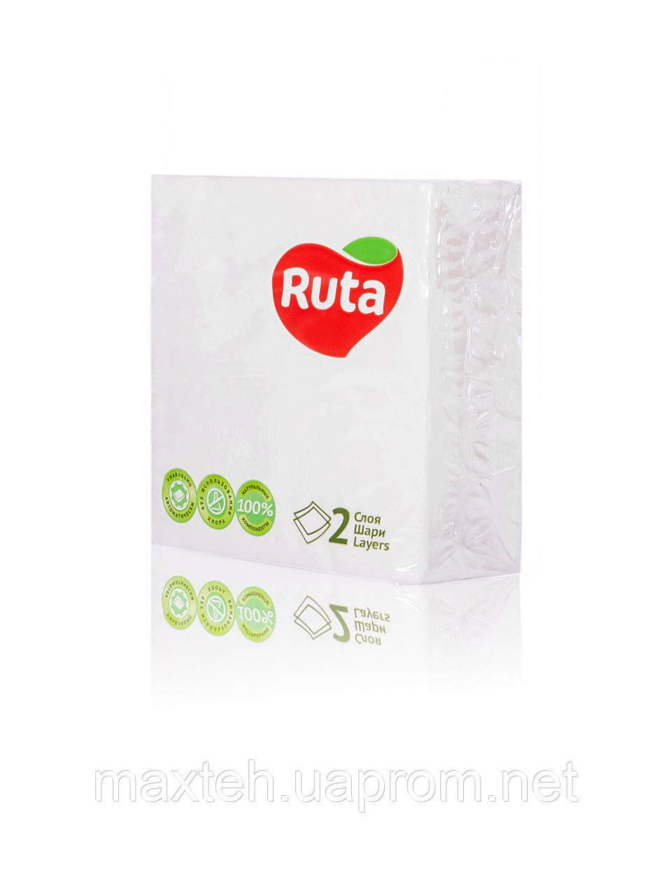Салфетки RUTA Double Luxe 40 листов двухслойные 24х24 белые
