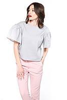 """Блуза широкий рукав """"Romantic"""" сіра"""
