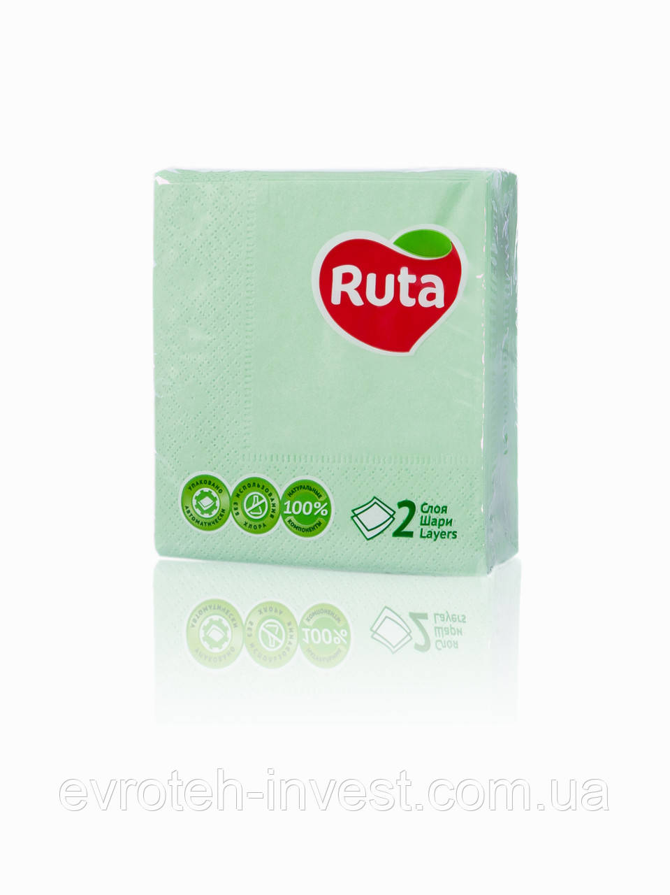 Салфетки RUTA Double Luxe 40 листов двухслойные 24х24 зеленые