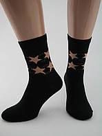 Носки женские хлопок разноцветные черные со звездами Ж-900028