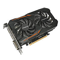 Видеокарта GeForce GTX1050 OC, Gigabyte, 2Gb DDR5, 128-bit, DVI/HDMI/DP, 1518/7008 MHz (GV-N1050OC-2GD)