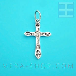 Серебряный крест с камнями (арт-4)
