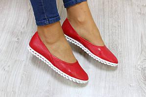 Балетки кожаные перфорация красные