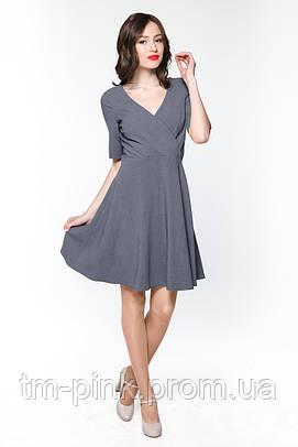 """Плаття А-силуету верх на запах """"Romantic"""" сіра платье на запах"""