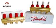 Пара распределительных коллекторов для теплого пола на 4 выхода (с расходомерами) Danfoss FHF