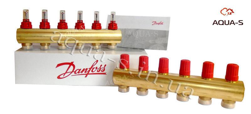 Коллектор распределительный Danfoss FHF-6F (6 выходов) для теплого пола  (с расходомерами) 088U0526