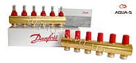Пара распределительных коллекторов для теплого пола на 6 выходов (с расходомерами) Danfoss FHF