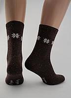 Носки женские хлопок разноцветные темно-бордовые с орнаментом Ж-900029