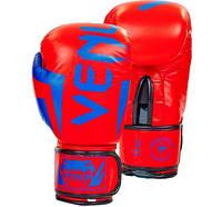 Перчатки боксерские кожаные VENUM ELITE NEO 12oz оранжевый с синим