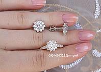 Блестящий серебряный набор с цветочками, фото 1