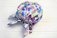Косынка-бандана на резинке цветочки фиолетовый