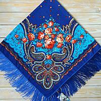 Яркий женский платок с цветами (115х115см, синий, 80%-шерсть)