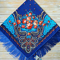Яркий женский платок с цветами (115х115см, синий, 80%-шерсть), фото 1