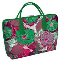 """Сумка саквояж женская весеннее (зеленая)время с принтом """"Цветы"""" ,сумки женские дропшиппинг"""
