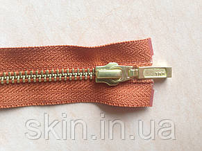 Молния металлическая YKK, размер № 5, длинна - 60 см., тесьма - рыжая, цвет зубьев - золото, артикул СК 5123, фото 2