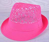 """Детская шляпа челинтано """"Кружево"""" для девочек. Размер 54 см. Фуксия.  Оптом."""