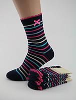 Носки женские хлопок разноцветные черные в цветную полоску с бантиком и волнистой резинкой Ж-900030