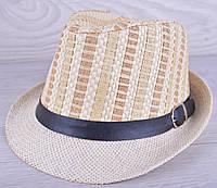 """Детская шляпа челинтано """"Плетенка"""" для мальчиков. Размер 57-58 см. Светло-бежевая. Оптом."""