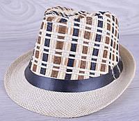 """Детская шляпа челинтано """"Плетенка"""" для мальчиков. Размер 57-58 см. Бежевая. Оптом."""