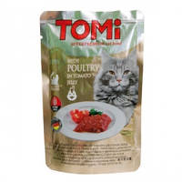 TOMi POULTRY in tomato jelly ТОМИ ПТИЦА В ТОМАТНОМ ЖЕЛЕ суперпремиум влажный корм, консервы для кошек 100гр