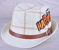 """Детская шляпа челинтано """"Happy""""  для мальчиков. Размер 52-54 см. Бежевая+клетка. Оптом."""