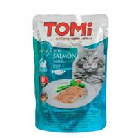 TOMi SALMON in egg jelly ТОМИ ЛОСОСЬ В ЯИЧНОМ ЖЕЛЕ суперпремиум влажный корм, консервы для кошек 100гр
