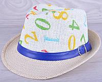 """Детская шляпа челинтано """"Цифры""""  для мальчиков. Размер 52-54 см. Бежевая Оптом."""