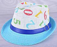 """Детская шляпа челинтано """"Цифры""""  для мальчиков. Размер 52-54 см. Голубая. Оптом."""